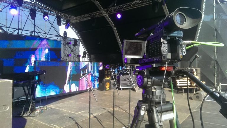 A behind the scene photo of an event video