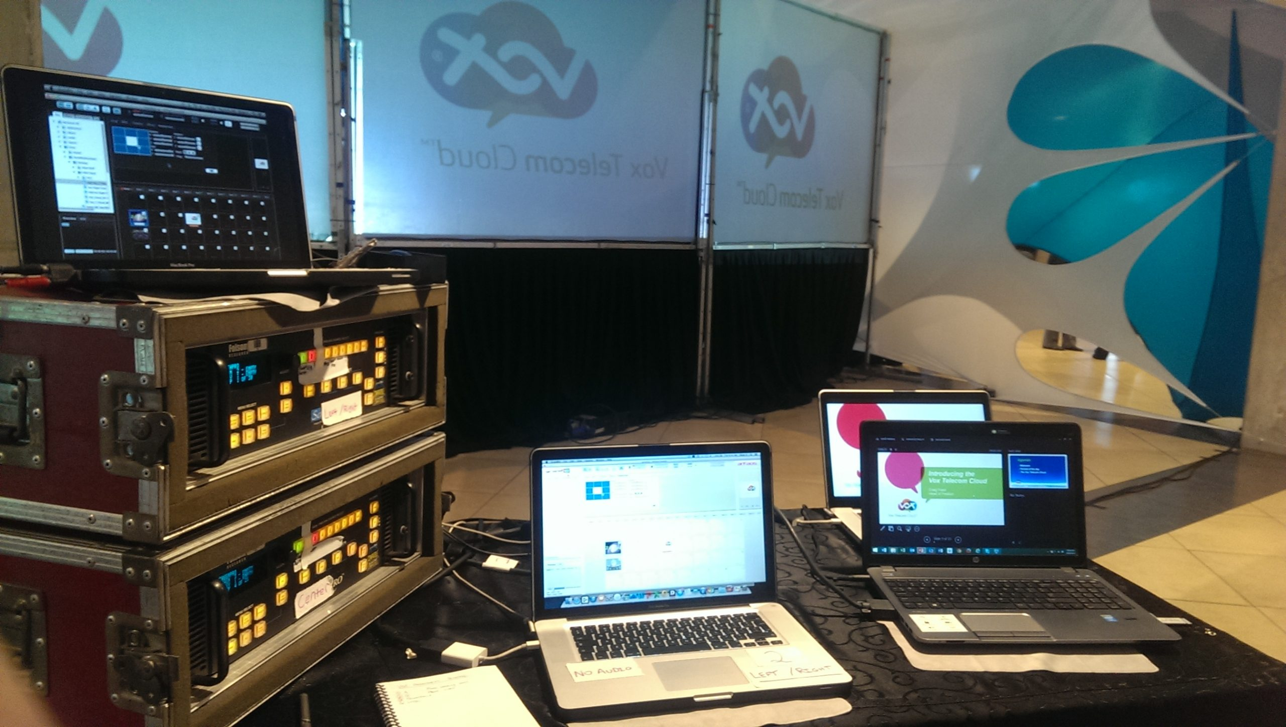 A photo from behind the scenes of live streaming